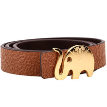 Load image into Gallery viewer, Elephant Garden Women's leather belt with elephant buckle- 4 colors- B7222