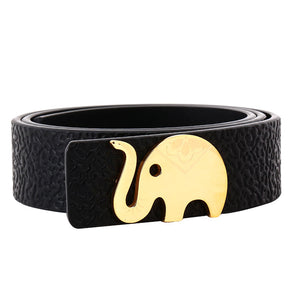 Women's leather belt with logo buckle-black-B7223