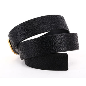 Elephant Garden Women's leather belt with logo buckle-black-B7223