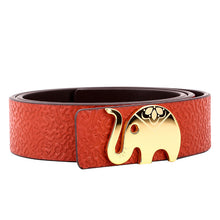 Load image into Gallery viewer, Elephant Garden Women's leather belt with logo buckle-black-B7223