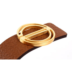 Elephant Garden Women's leather Belt With Golden E Buckle - four colors -B7227