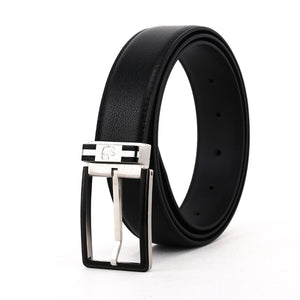 Elephant Garden Men's 3pcs Leather Belt Set (2 Buckles)- B7504-Black