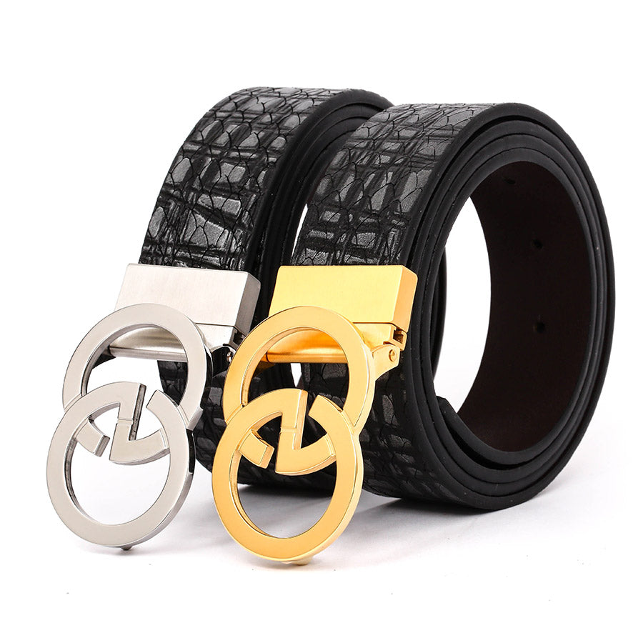 Men's Leather Belt with EG Buckle Black B9810 With Free Gift One Size