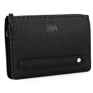 Elephant Garden Men's Zip-Top Leather Pouch with Hand Strap H84002