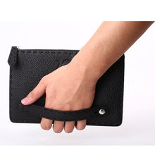 Load image into Gallery viewer, Elephant Garden Men's Zip-Top Leather Pouch with Hand Strap H84002