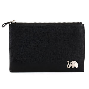 Elephant Garden Men's Zip-Top Leather Pouch with Elephant Logo H84004