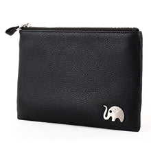 Load image into Gallery viewer, Elephant Garden Men's Zip-Top Leather Pouch with Elephant Logo H84004