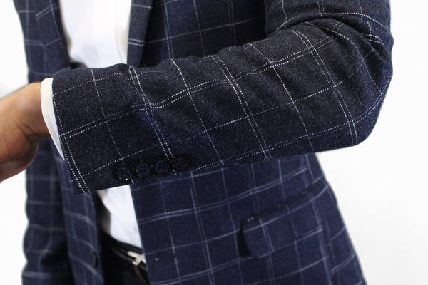 AlbertGerald Blue Plaid Blazer