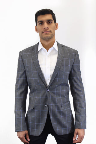 BrooklynBorthers Grey Plaid Blazer