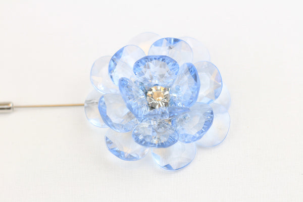 Sky Blue Crystal Flower Pin