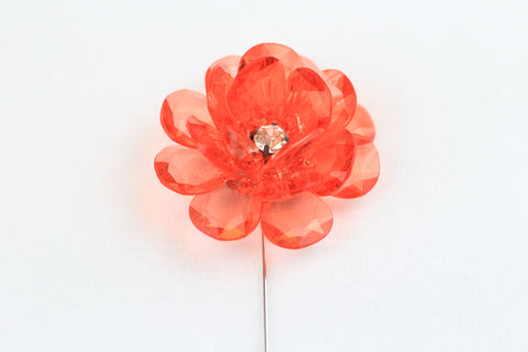Red Crystal Flower Pin