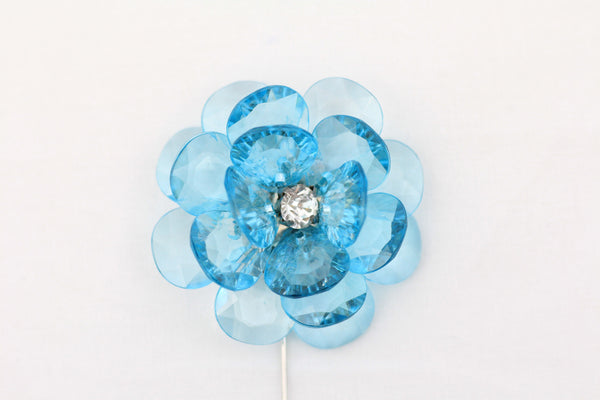 Blue Crystal Flower Pin