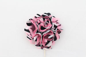 Pink|Black Mesh Flower Pin
