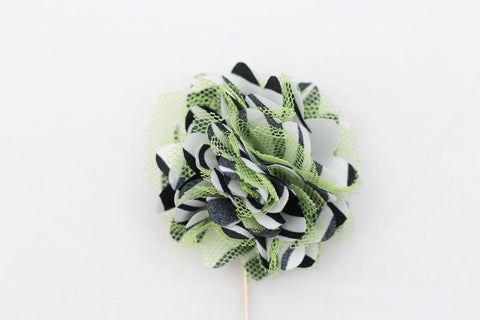 Green|Black mesh Flower Pin