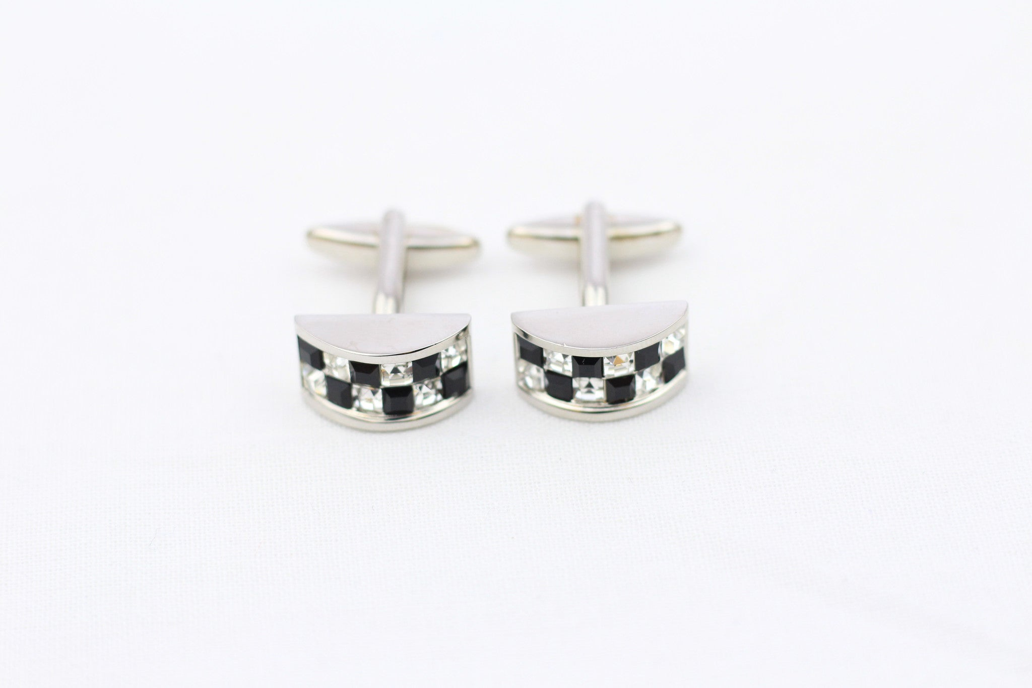Black|Silver-Check Cuff Links