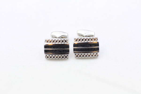 Black Double-Striped Cuff Links
