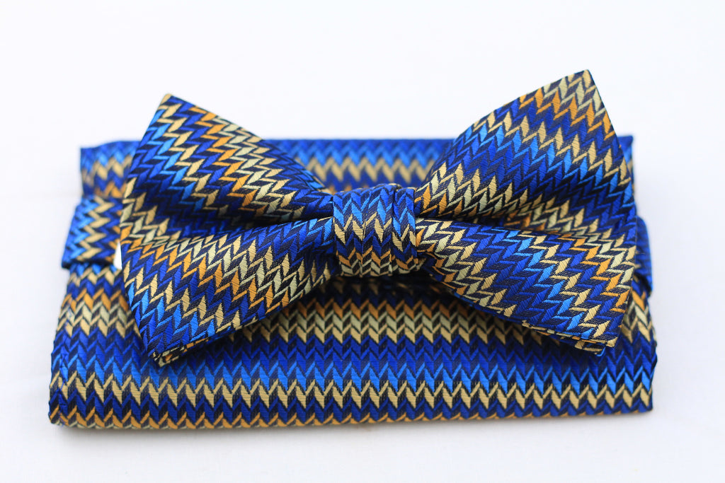 Blue Bow-Tie and Pocket Square