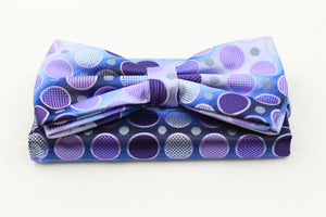 Blueish Bow-Tie plus Pocket Square