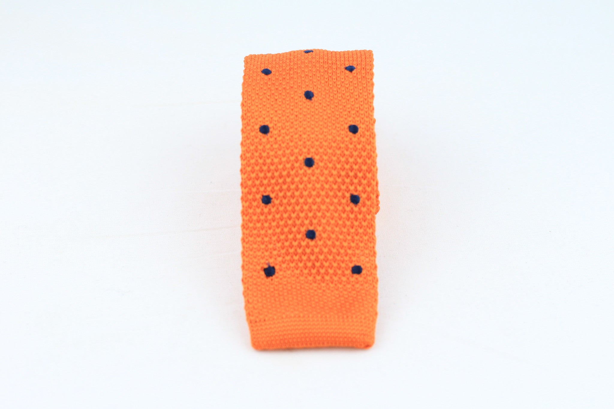 Orange Knit-Tie with Dots