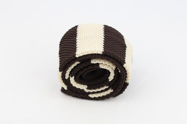 Brown-White Knit-Tie