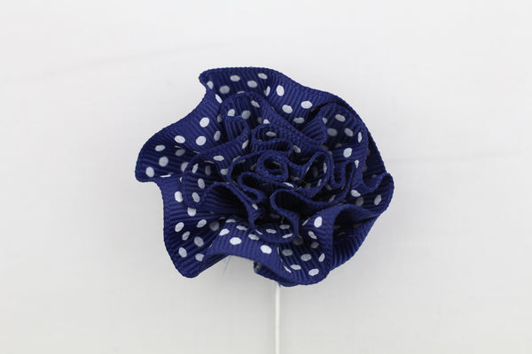 Blue Polka-Dot Flower Pin