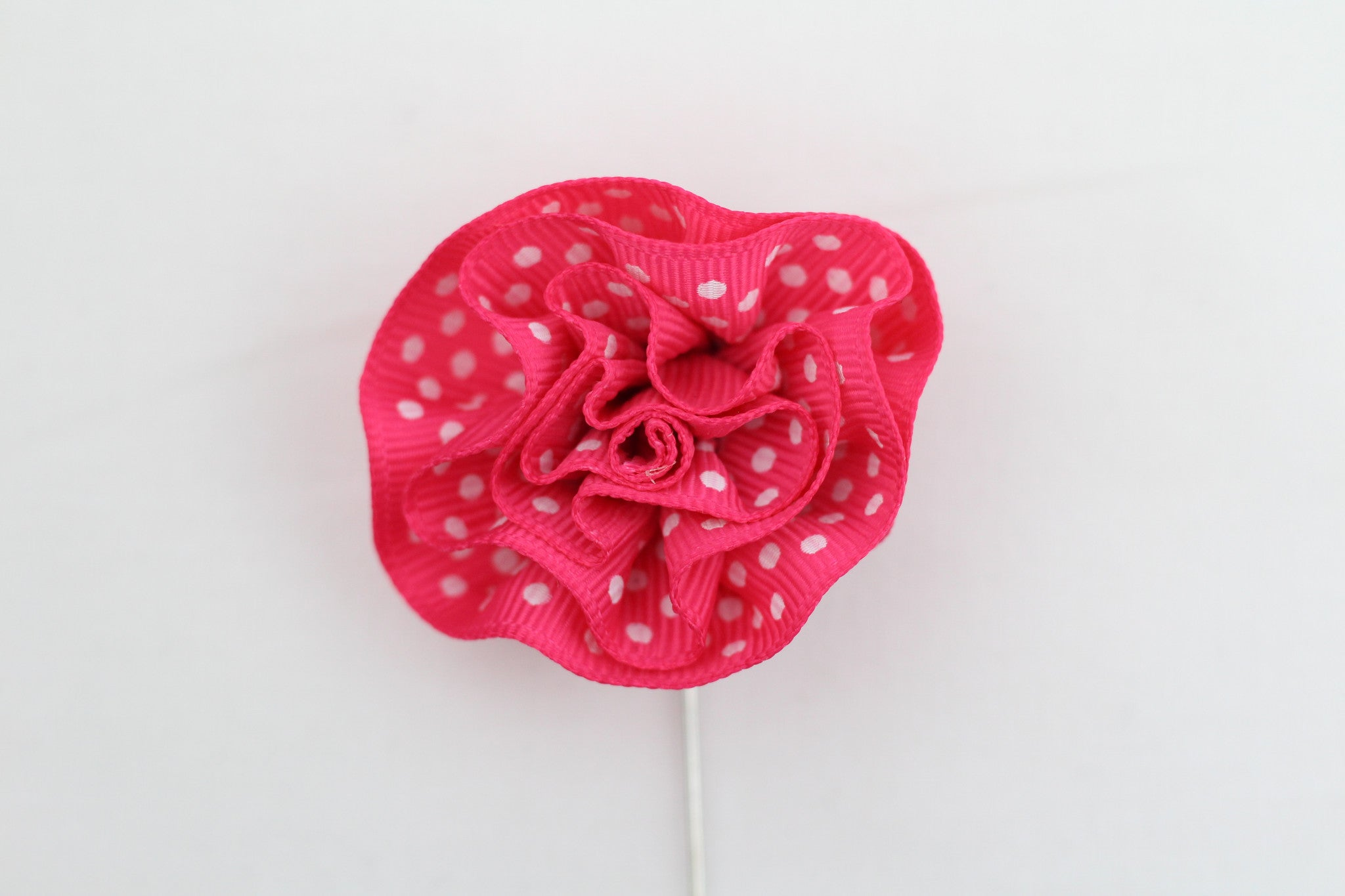 Pink Polka-Dot Flower Pin