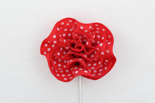 Red Polka-Dot Flower Pin