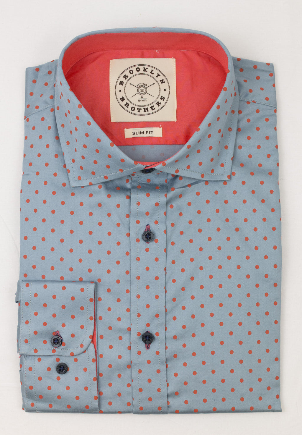 Brooklyn Brothers Orange Polka Dots Dress Shirt