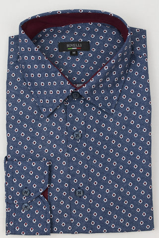Rivelli BLUE|RED STRUCTRED DRESS SHIRT