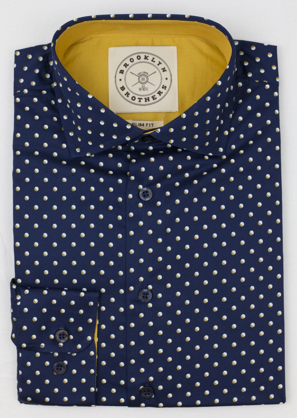 Brooklyn Brothers NAVY DOTTED DRESS SHIRT