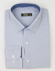 AG Slim Dress Shirt|White-Blue Dotted