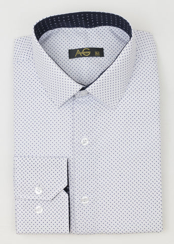 AG Slim Dress Shirt|White-Blue Sructured