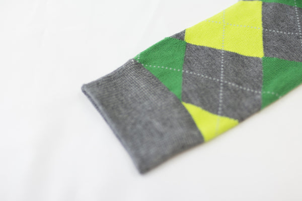 Green-Grey Argyle Socks