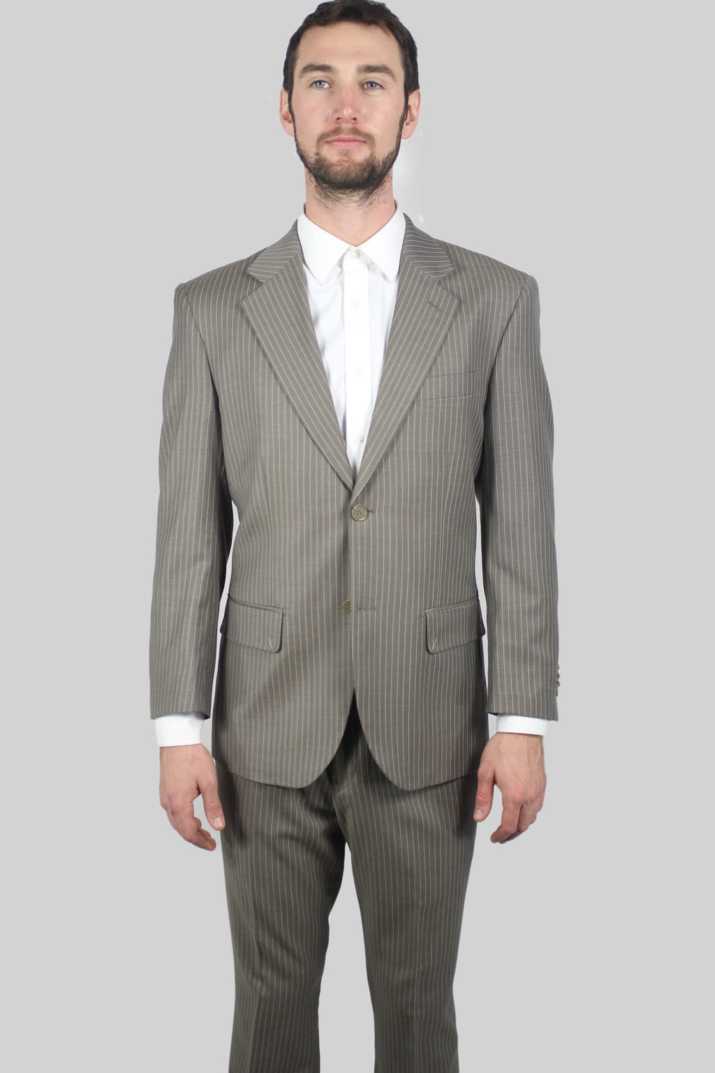 ItalyUomo Taupe Striped Suit