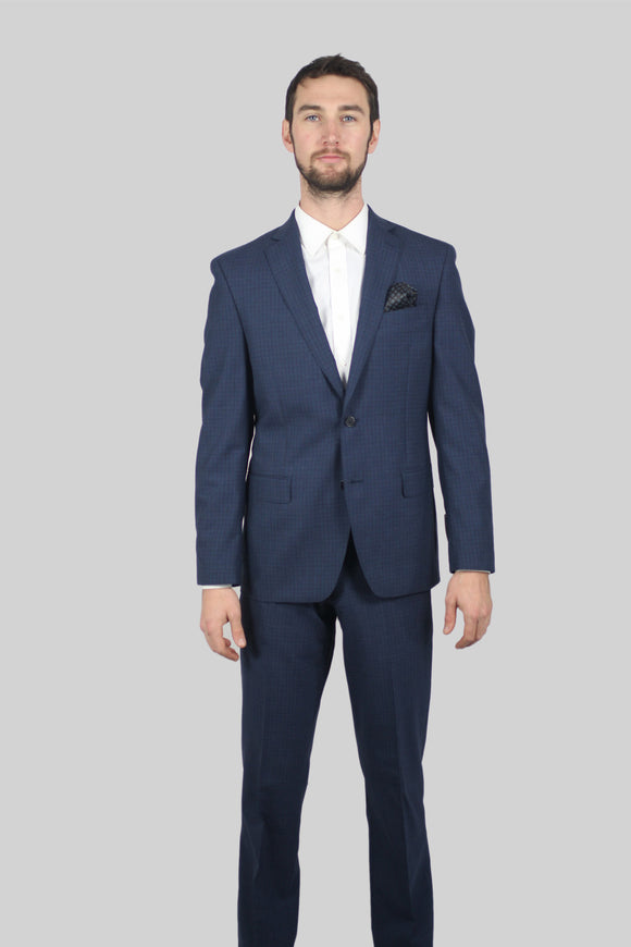 Blue Structured w Pocket Square