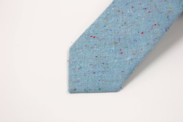 DENIM BLUE SPECK SKINNY TIE