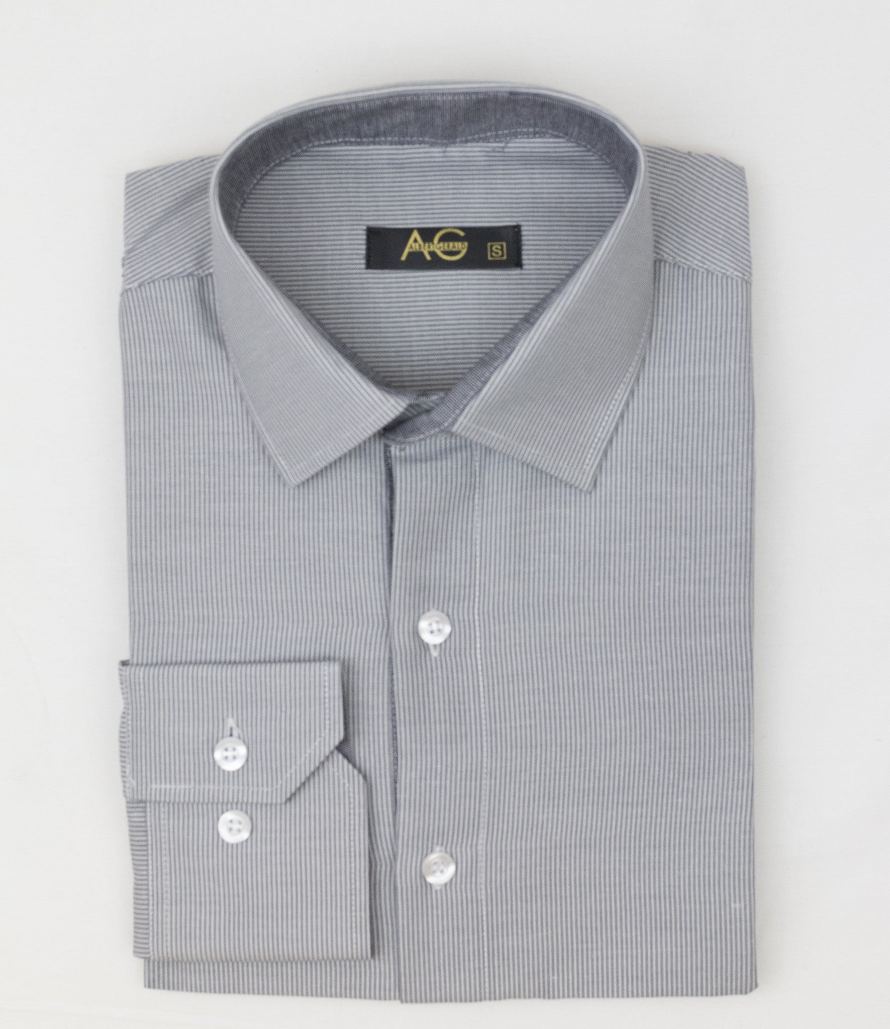 AG Slim Dress Shirt|Grey-White Striped