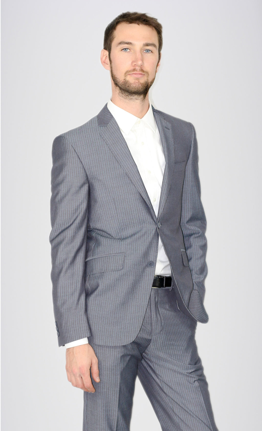 Bertolini Grey Striped Suit