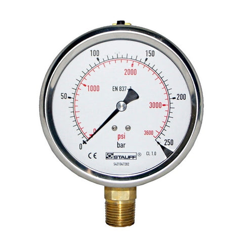 100mm Dial Face Stem Mount Pressure Gauge with BSPP Connection