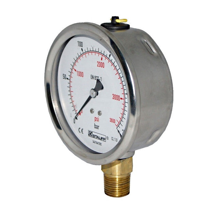 100mm Dial Face Stem Mount Pressure Gauge with NPT Connection