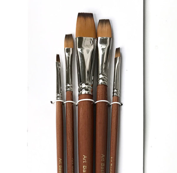 Art Basics Golden Brown Talon Flat Long 101 Brush Set 5pcs