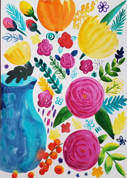 Paint, Sip and Nibble - Doodles & Blooms Workshop Saturday 8th Feb 2020