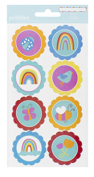 Pebbles Rainbow Stickers - Pack 8 - Party Amy Locurto