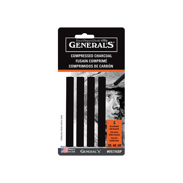 Generals Compressed Charcoal Sticks - Black 4 Pack