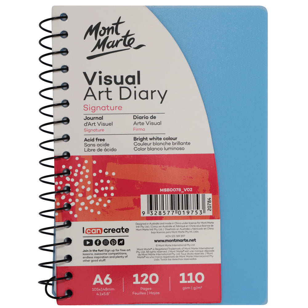 Signature Visual Art Diary PP Coloured Cover 110gsm A6 120 Page