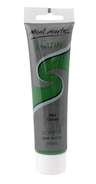 Mont Marte Satin Acrylic 100ml - Mid Green