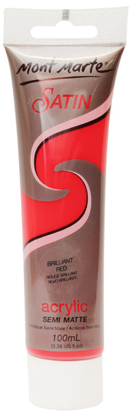 Mont Marte Satin Acrylic 100ml - Brilliant Red