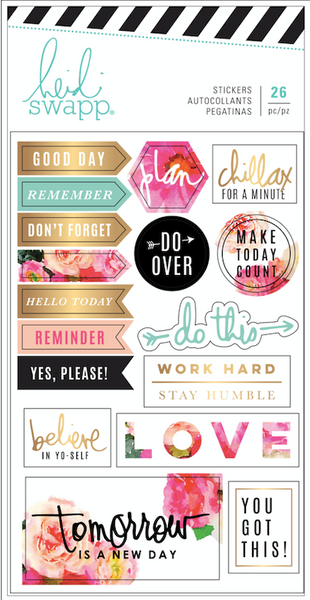 STICKERS - HEIDI SWAPP -PLANNER PROGRAM- CLEAR - FLORAL (26 PIECES)