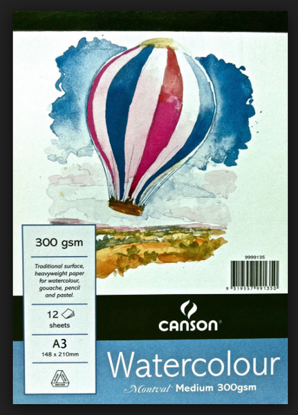 Canson Montval Watercolour Pad 185gsm Cold Press/Medium