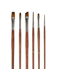 Art Basics Golden Brown Nylon Long 101 Brush Set 6pcs